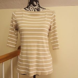 Christopher ♥& Banks Tan & White Striped Sweater T